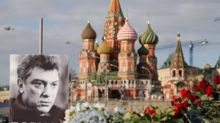 莫斯科紅場上民眾紀念遇刺的反對派前領導人涅姆佐夫
