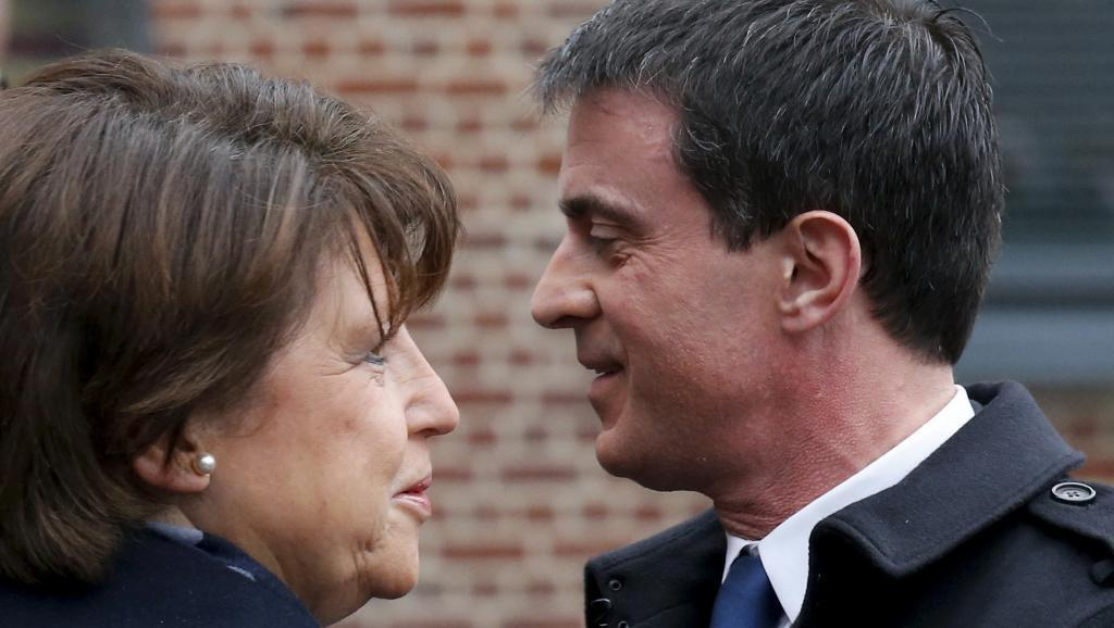 Lille mayor and former labour minister Martine Aubry with Prime Minister Manuel Valls