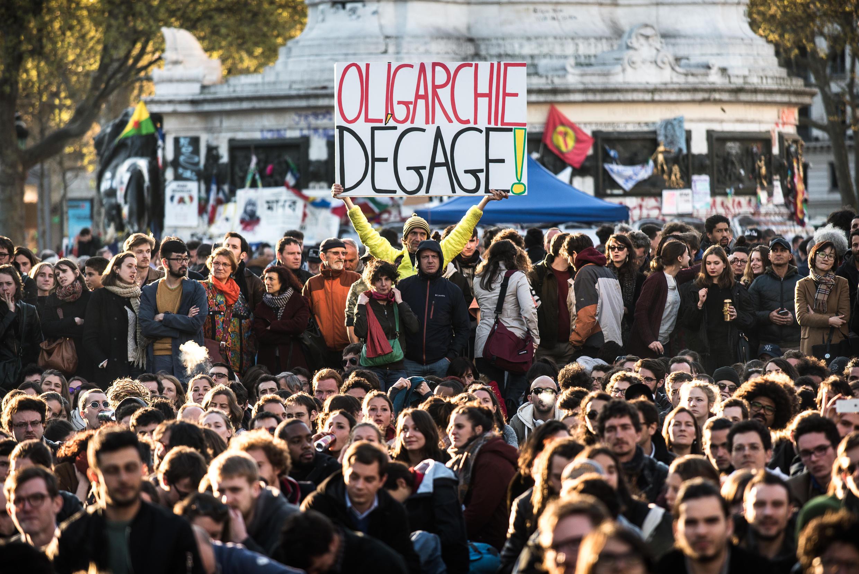 Nuit Debout protesters gathered at Place de La République in Paris on 18 April 2016.