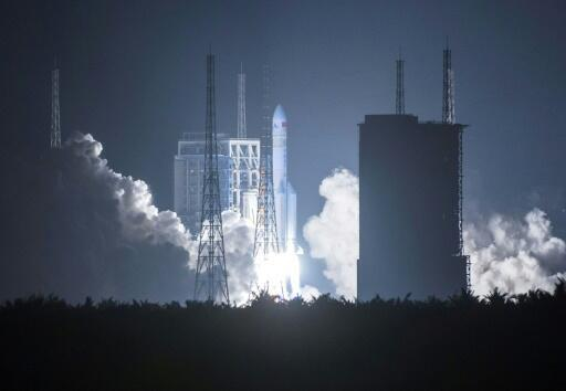 China's launch of its first Long March 5 rocket in November 2016 (pictured) was a leap forward for its ambitious space programme
