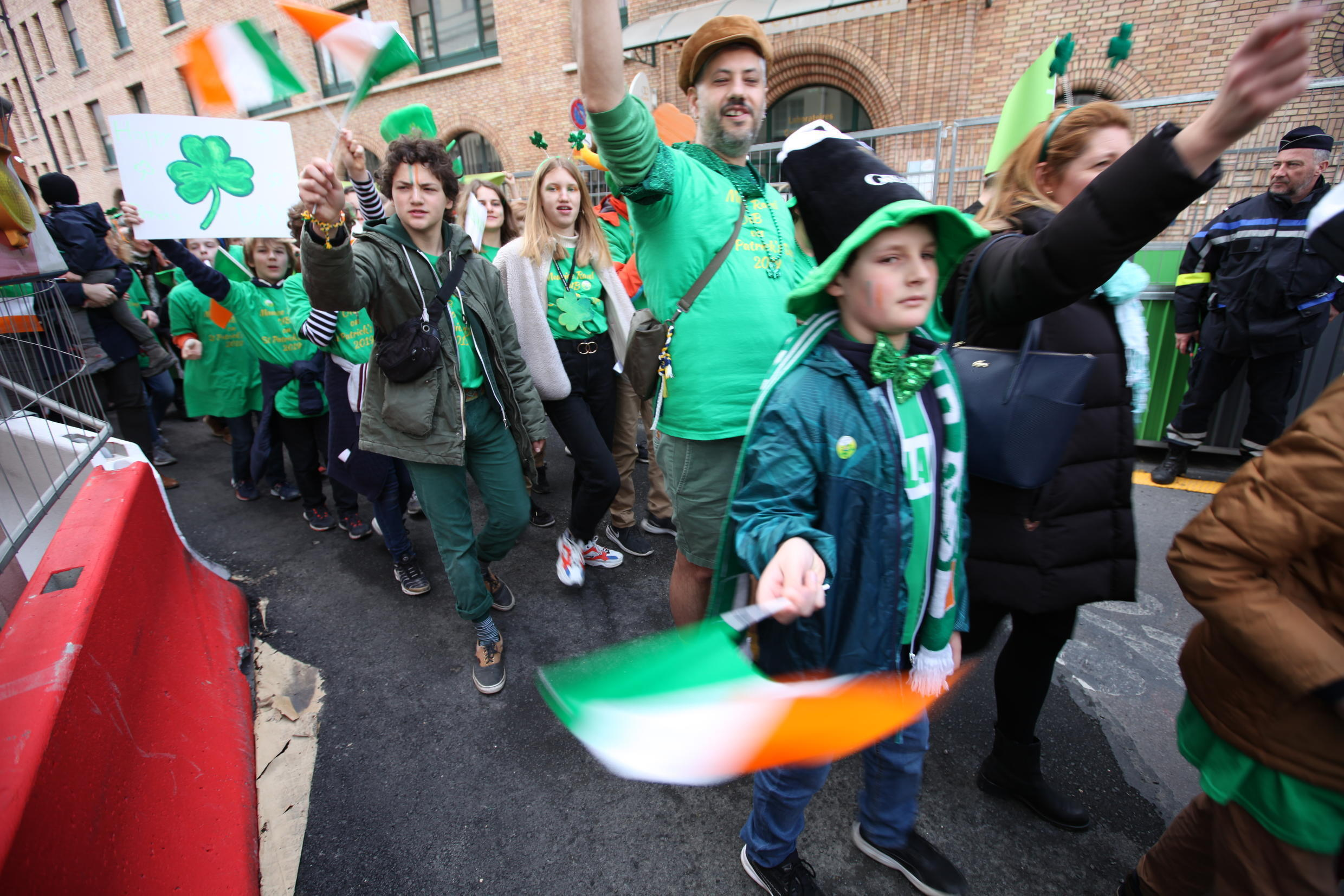 Both Irish people in France and Ireland-loving French marched alongside to celebrate Saint Patrick's Day.