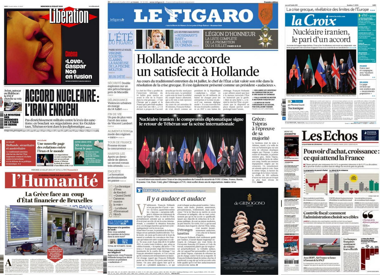 Capa dos jornais franceses Libération, Le Figaro, La Croix, L'Humanité e Les Echos desta quarta-feira, 15 de julho de 2015.