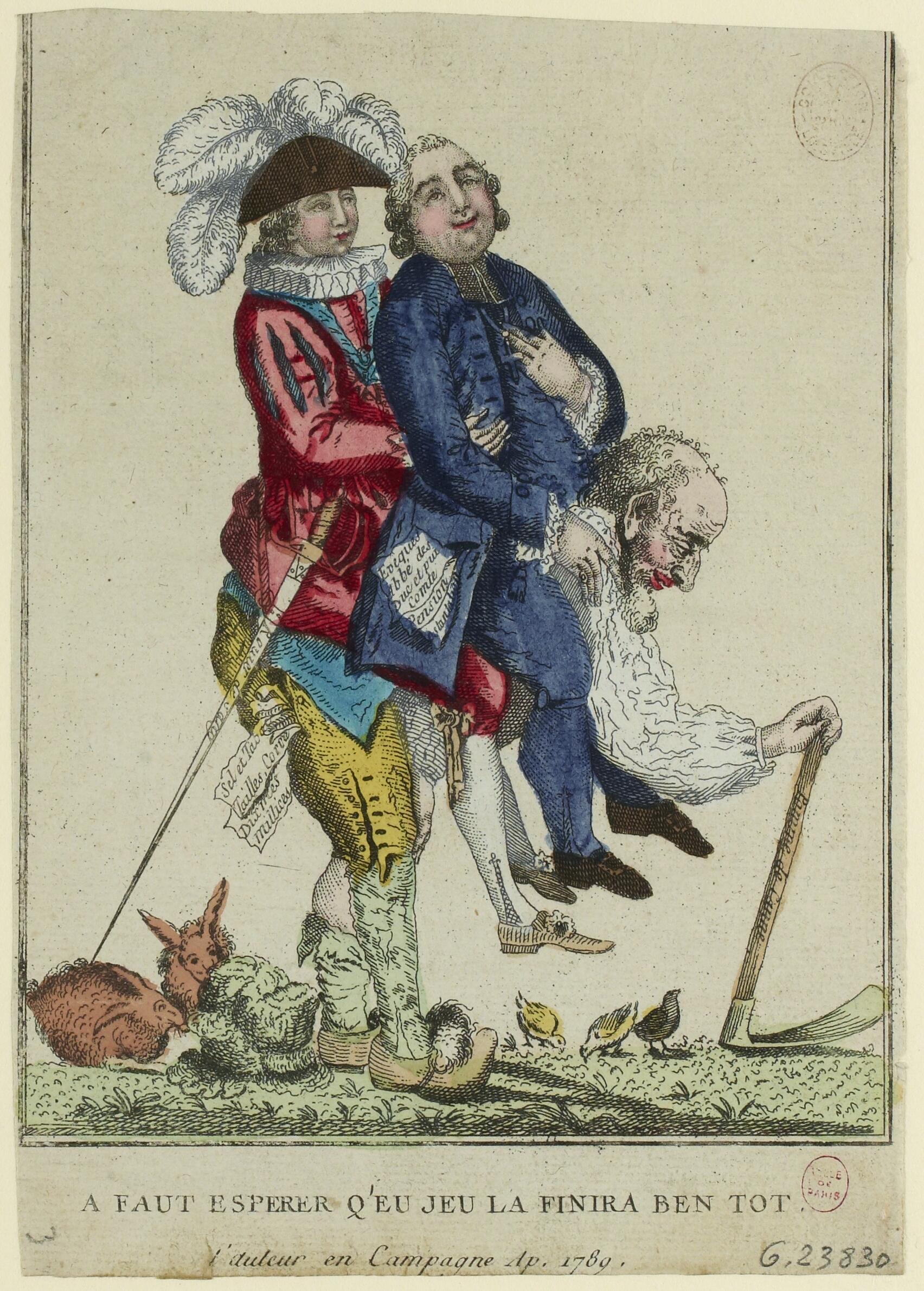 Анонимная карикатура 1789 года: третье сословие в образе согбенного старика тащит на своих плечах духовенство и дворянство