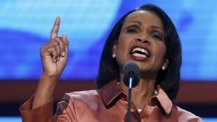អតីតរដ្ឋមន្ត្រីក្រសួងកាបរទេសអាមេរិកលោកស្រី Condoleezza Rice នាសមាជនៅយប់ថ្ងៃពុធម្សិលមិញនៅទីក្រុង Tampa 