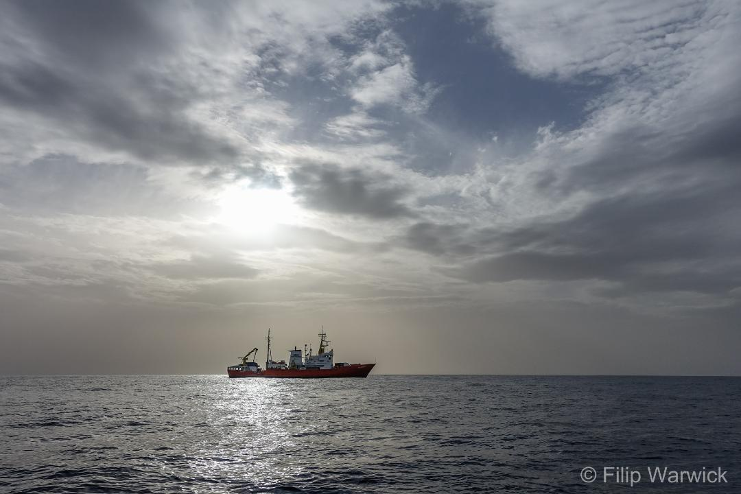 View of SOS-Aquarius ship on Mediterranean