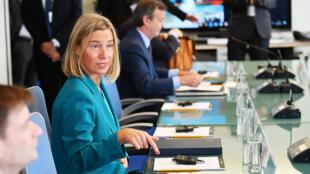 La cheffe de la diplomatie européenne Federica Mogherini, en marge de l'Assemblée générale des Nations unies, à New York, le 24 septembre 2018.