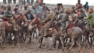 Scène de Buzkashi en Afghanistan