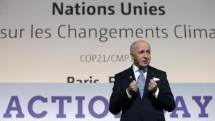 巴黎氣候峰會主席和法國外長法比尤斯