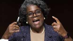 Linda Thomas-Greenfield comparece ante el Comité de Relaciones Exteriores del Senado para su audiencia de confirmación como embajadora de Estados Unidos ante las Naciones Unidas, en enero de 2021, en Washington.