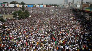圖為埃塞俄比亞首都2018年6月23日為新總理組織政治集會會場