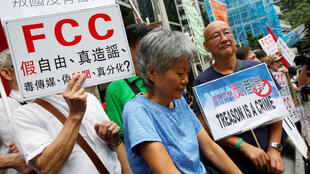 Người biểu tình thân Bắc Kinh trước trụ sở Hiệp Hội Ký Giả Ngoại Quốc ở Hồng Kông ngày 14/08/2018.