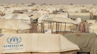 Vue générale du camp de réfugiés de Mbera en Mauritanie.