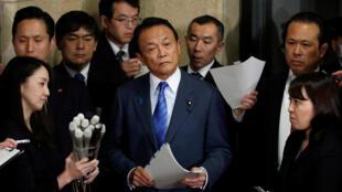 Bộ trưởng Tài Chính Nhật Taro Aso họp báo tại Tokyo ngày 12/03/2018.