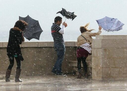 Storms hit the seafront at Nice, south of France