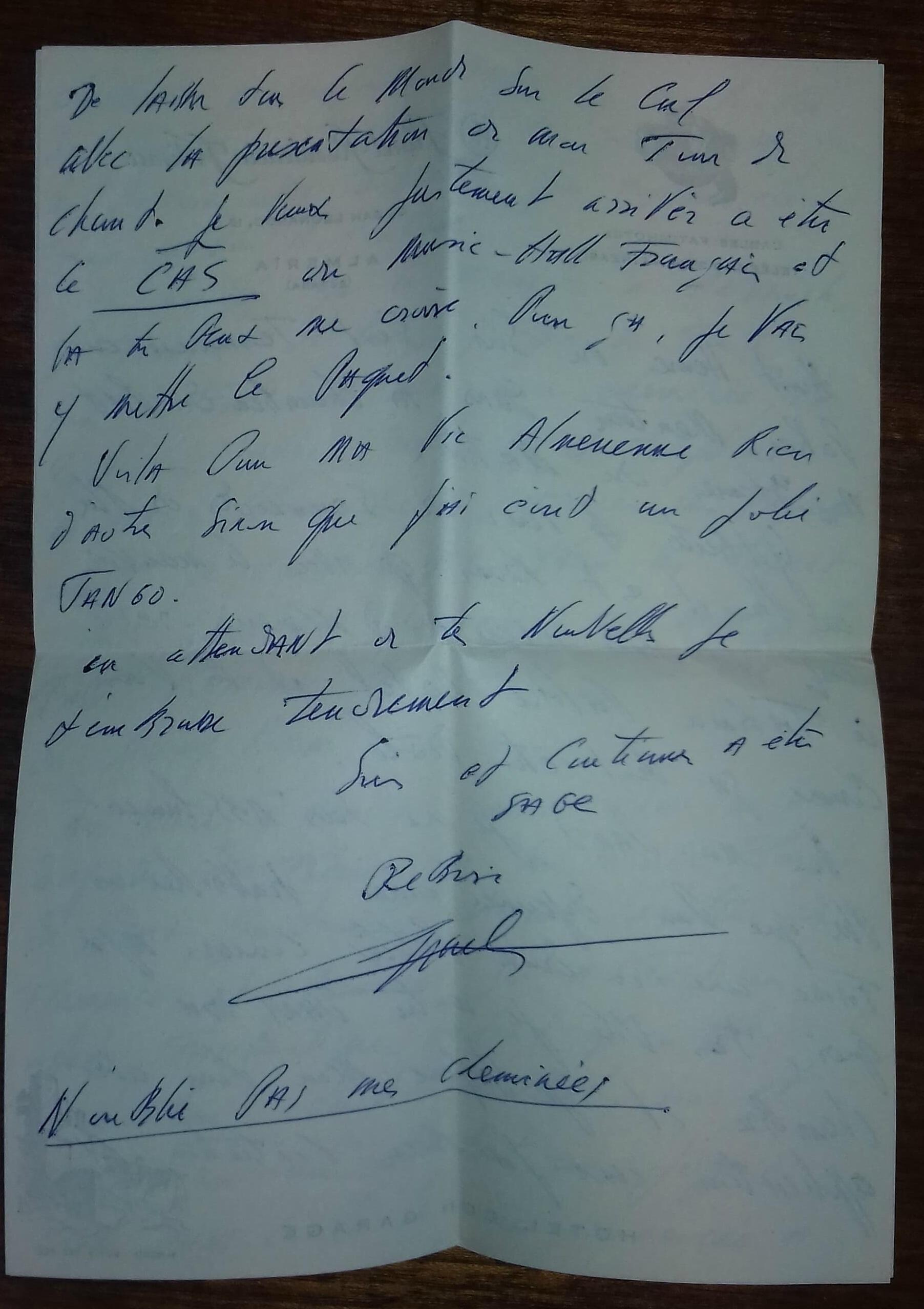 Письмо Шарля Азнавура