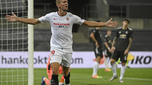 Luuk De Jong scored Sevilla's winner in the 2-1 victory over Manchester United in the semi-final of the Europa League. a