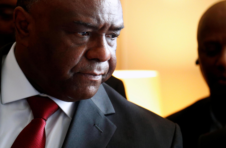 Jean-Pierre Bemba katika mkutano na waandishi wa habari, Brussels Julai 24, 2018.
