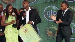 Yaya Toure akiongea baada ya kukabidhiwa tuzo ya mwanasoka bora wa Afrika kwa mwaka 2012