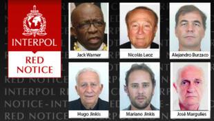 Alerta vermelho internacional emitido nesta quarta-feira (3) pela Interpol contra seis envolvidos no escândalo da Fifa.
