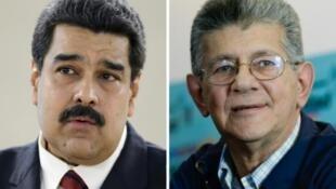 Picha ya rais wa Venezuela Nicolas Maduro (kushoto) tarehe 12 Novemba 2015 na picha ya spika wa Bunge, Henry Ramos Allup ya Desemba 8, 2015.
