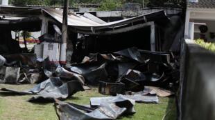 Área do Centro de Treinamento do Flamengo após o incêndio desta madrugada.