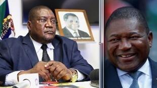 Ossufo Momade, líder da Renamo (esq) e Filipe Nyusi, Presidente de Moçambique.