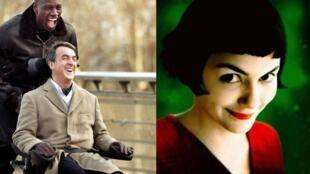 """Cartazes dos filmes """"Intocáveis"""" e o """"Fabuloso Destino de Amélie Poulain""""."""