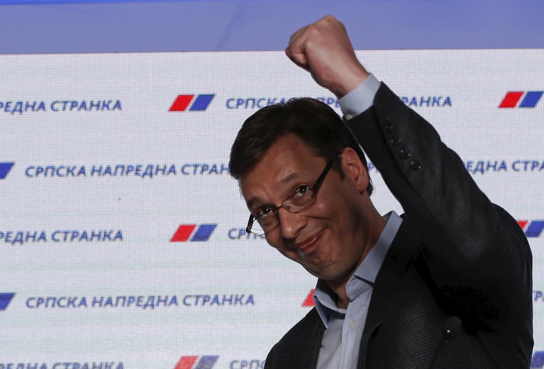 Le Premier ministre serbe Alexandre Vučić réagit à la victoire de son parti aux élections législatives.