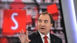 Lãnh đạo đối lập Stefan Lofven trong một đối thoại với chính trị gia các đảng phái, kênh truyền hình TV4, Stockholm, 10/09/2014.