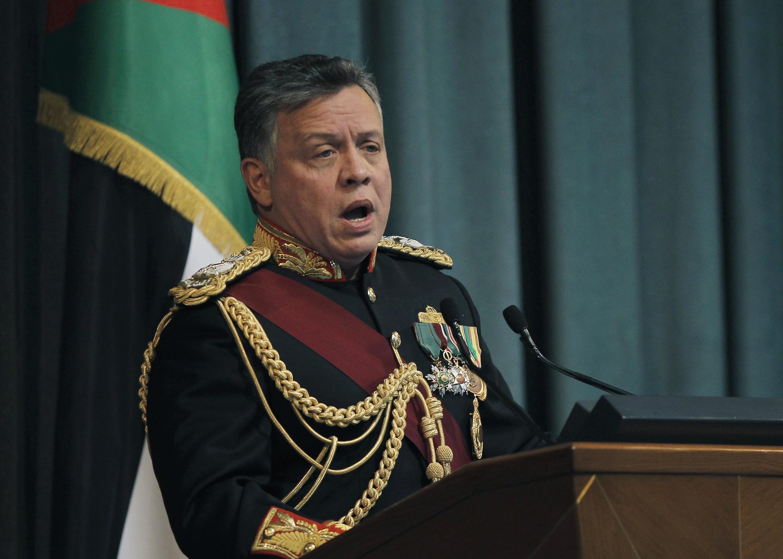 Le roi Abdallah II de Jordanie devant le nouveau Parlement, le 10 février 2013, à Amman.