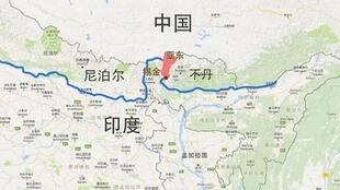 圖為中國網絡刊登中印邊界爭議示意地圖