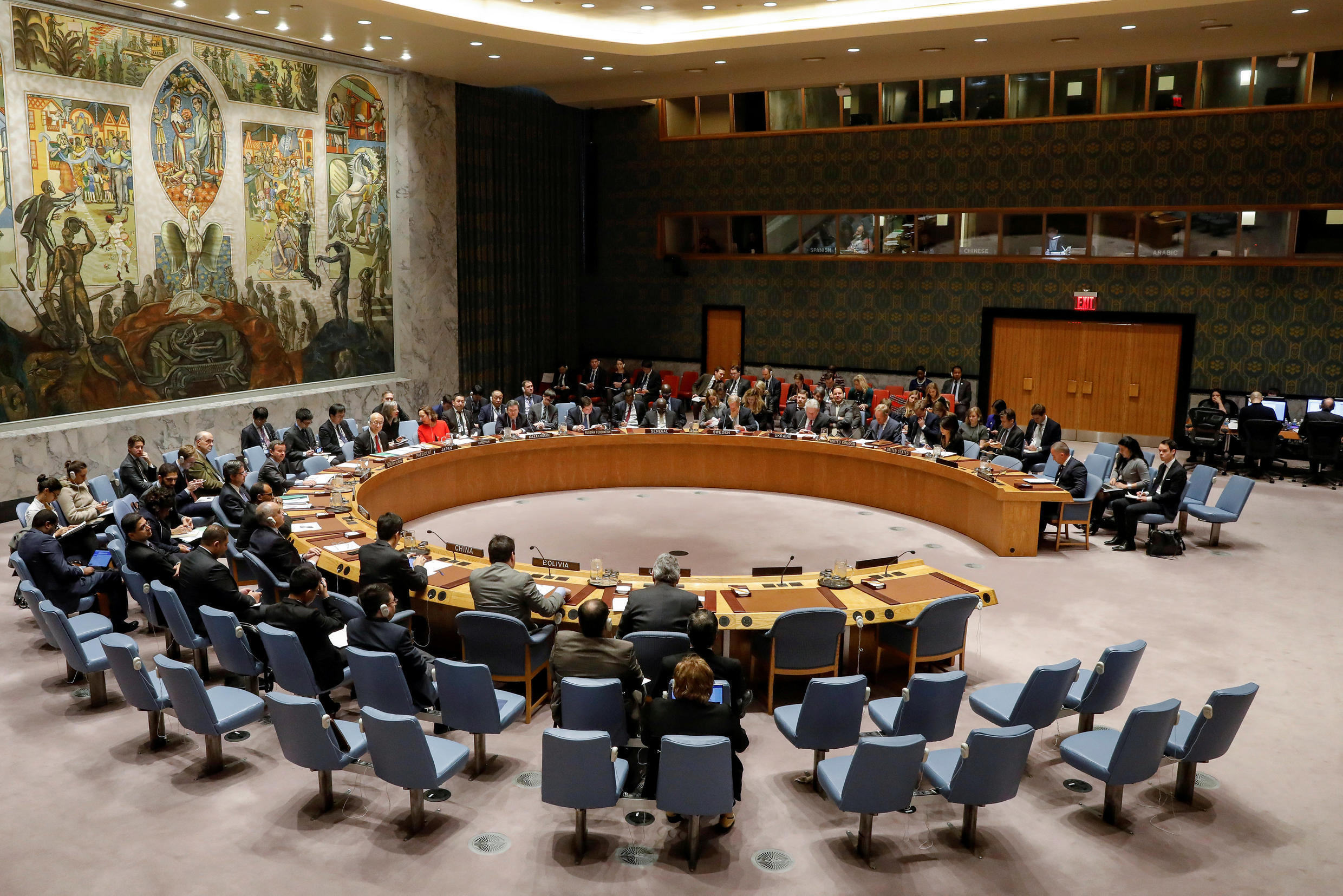The United Nations Security Council meets on the situation in the Middle East, including Palestine, at U.N. Headquarters in New York City, New York, U.S., December 18, 2017.
