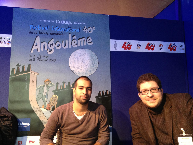Rafael Coutinho, à esquerda, e André Diniz, à direita, falaram sobre o mercado de HQ no Brasil
