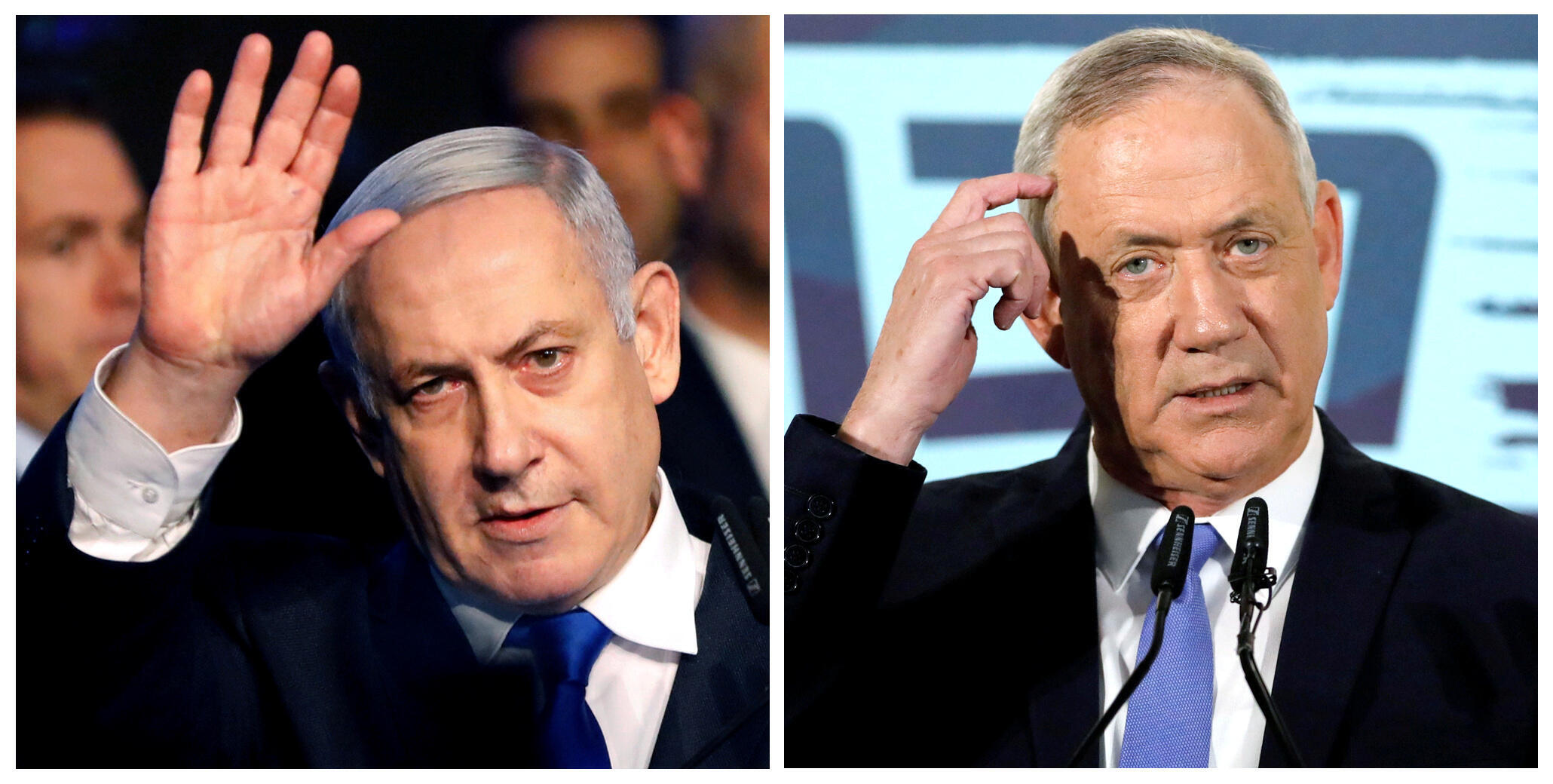 Benjamin Netanyahu (g) et Benny Gantz.