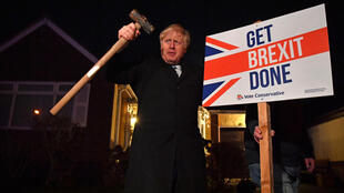Britain's Prime Minister Boris Johnson, seen here campaigning in 2019, will finally 'Get Brexit Done' this week