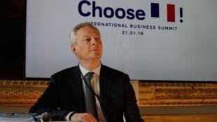 Le ministre français de l'Economie, Bruno Le Maire, avant l'ouverture du sommet sur l'attractivité de la France, le 21 janvier 2019, à Versailles.