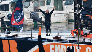 France's skipper Kevin Escoffier before the start of the Vendée Globe solo around-the-world sailing race in Les Sables-d'Olonne, western France, on November 8, 2020.