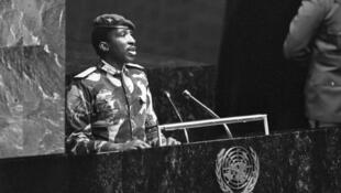 Thomas Sankara à la tribune de l'ONU.