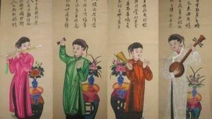 """Hình ảnh người phụ nữ Việt Nam trong bộ tranh Tố nữ thuộc thể loại """"tranh Tứ Bình"""", dòng tranh dân gian Hàng Trống."""