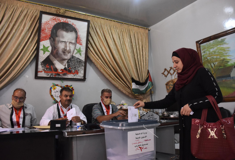 Un bureau de vote à Alep, en Syrie, le 19 juillet 2020, pour les législatives.