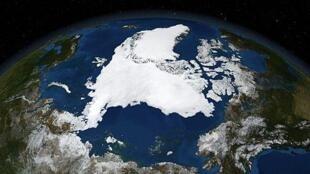La région de l'Arctique vu par le satellite de la NASA.