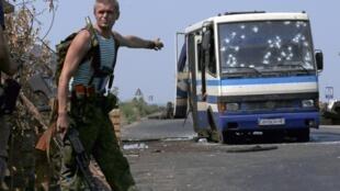 Блокпост ДНР в пригороде Донецка, 13 августа