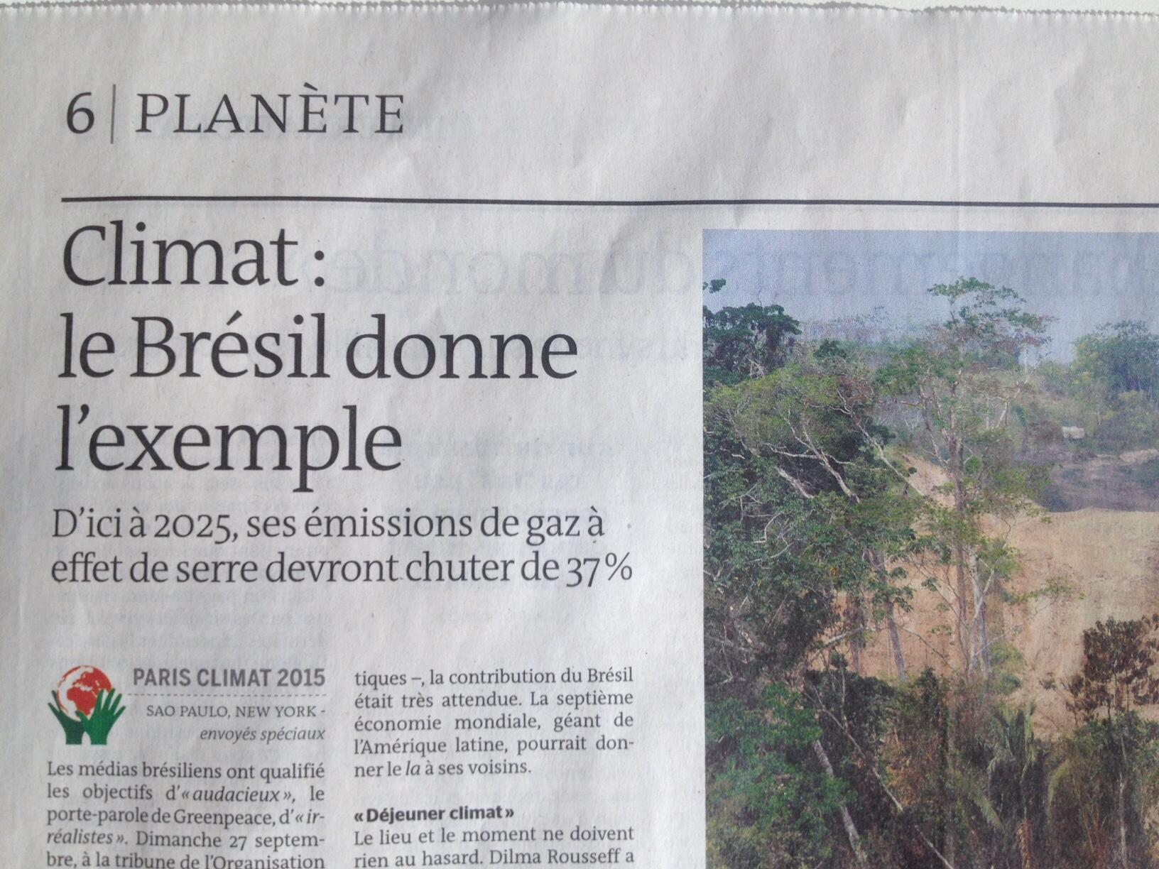 """Clima: Brasil dá o exemplo"", diz o jornal Le Monde."