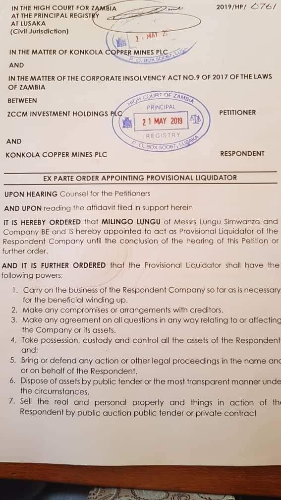 Lusaka High Court ex-parte order appointing provisional liquidator of Konkola Copper Mines PLC on 21 May 2019