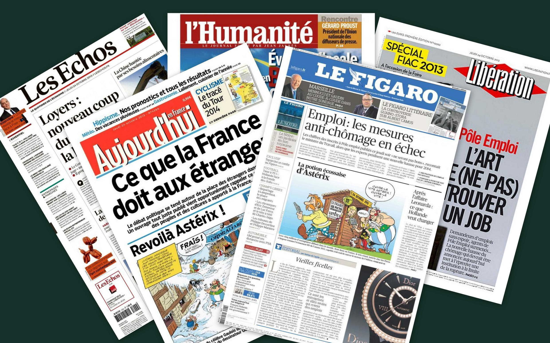 Capa dos jornais franceses, Les Echos, L'Humanité, Libération, Le Figaro e Aujourd'hui en France desta quinta-feira, 24 de outubro.
