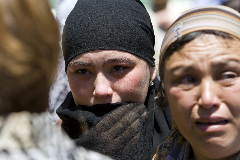 Ethnic Uzbek women at refugee camp on the Kyrgyz-Uzbek border