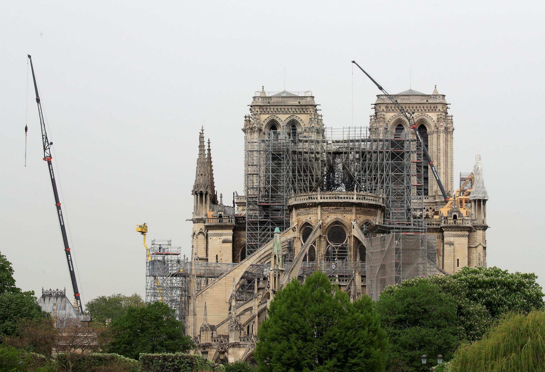 2019年4月23日,火災後一周的巴黎聖母院。