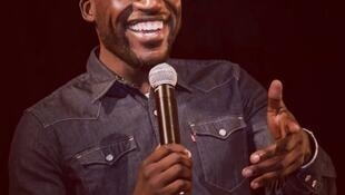 Thirty-seven year old Cameroonian comedian, Donel Jack'sman, performing at L'Européen comedy club in Paris, 27 December 2017