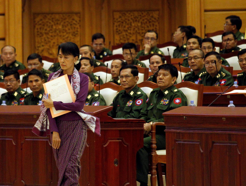 Bà Aung San Suu Kyi tại Quốc Hội Miến Điện ở Naypidaw. Ảnh tư liệu chụp ngày 02/05/2012.