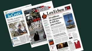 Capa dos jornais franceses Libération, La Croix, e Les Echos desta quinta-feira, 17 de julho